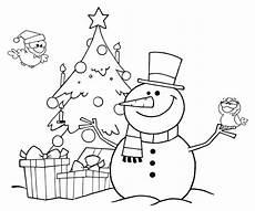 ausmalbild weihnachten schneemann und christbaum