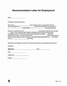 Sample Letter Of Recommendation For Employment Free Job Recommendation Letter Template With Samples