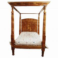 four poster canopy bed american c 1840 empire burl maple