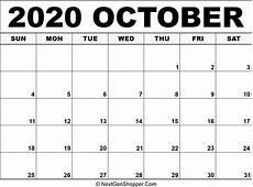 October Calendar Printable October 2020 Calendar Template Task Management