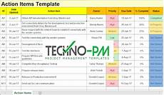 Action Item Template Excel Action Items Template For Excel Project Management Templates