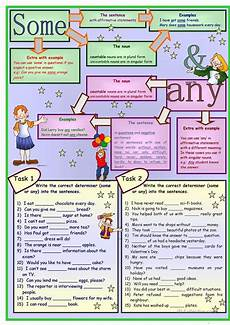 some any no grammar 5 tasks 2 pages with key