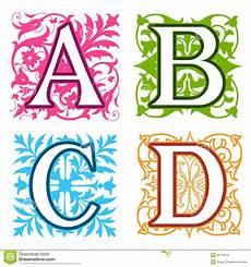 Letter Desings A B C D Alphabet Letters Floral Elements Stock Vector