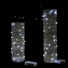 Fairy Lights In Glass Cylinder 12 X 2m Long Cool White Wire String Battery Operated Fairy