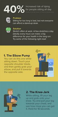 Flexibility In The Workplace Infographic 17 Desk Stretches That Might Save Your Life