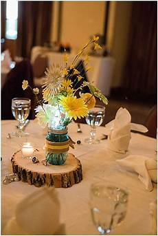 blue and yellow lodge wedding creative wedding details