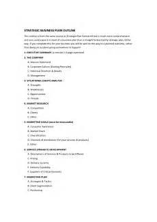 Standard Business Plan Outline 12 Strategic Business Plan Outline