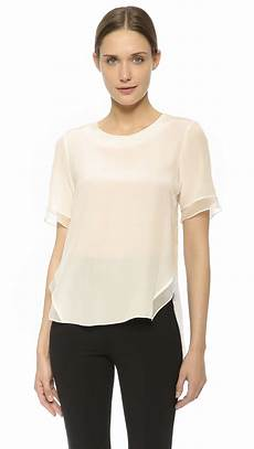 white silk sleeve blouse prabal gurung sleeve silk blouse in white lyst