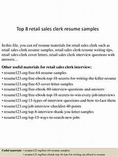 Retail Clerk Resume Top 8 Retail Sales Clerk Resume Samples