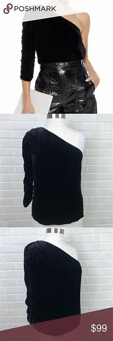 joie wayman one shoulder velvet top black nwt 8 velvet