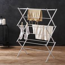 foldable clothes drying rack large folding drying rack reviews crate and barrel