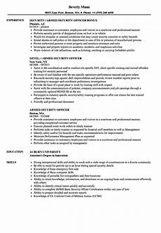 Security Job Resume Armed Security Officer Resume Samples Velvet Jobs