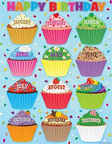 School Birthday Calendar Cupcakes Happy Birthday Chart Tcr7626 Teacher Created
