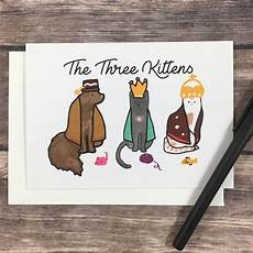 cat religious three wise card kitten card etsy