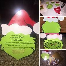Diy Birthday Party Invitations Diy Grinch 1st Birthday Party Invitations 1st Birthday