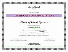 Example Of Certificate Of Appreciation For Guest Speaker Certificate Of Appreciation Sample Wordings For Guest