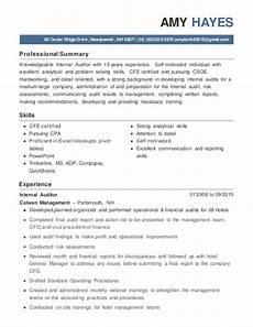 Internal Resume Template Amy Hayes Internal Auditor Resume Jan 2016