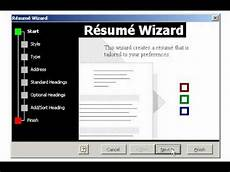 Microsoft Resume Wizard Free Download Creating A Resume Using The Wizard In Microsoft Word Youtube