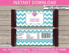 Hershey Candy Bar Wrappers Owl Hershey Candy Bar Wrappers Personalized Candy Bars
