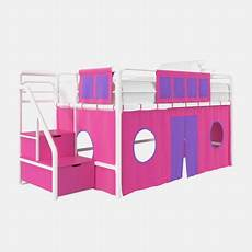 dhp junior white loft bed with pink storage steps and pink