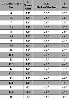 Mens Shoe Width Chart Measurements For A Wide Size 5 Shoe Diabetes Inc