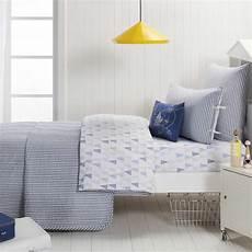 blue ticking stripe quilted throw blanket 160 x 220 cm