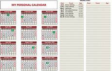 Printable Customized Calendars Custom Printable Calendars Excel Template Indzara