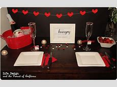 Romantic dinner date. Candle lit dinner at home. Part of
