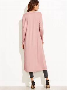 pink coats for duster pink collarless longline duster coat shein sheinside
