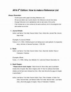 Apa Style Lists Apa Style Reference List 2 Apa 6 Edition How To Make A