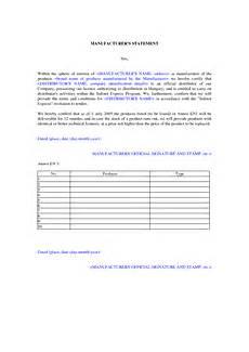 Certificate Of Manufacture Template Manufacturer Certificate Of Origin Sample