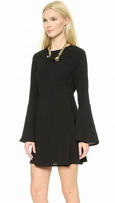 solid sleeve gown dresses lyst re named solid bell sleeve dress in black