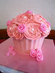 Breast Cancer Cake Designs Giant Cupcake Breast Cancer Awareness Cakecentral Com