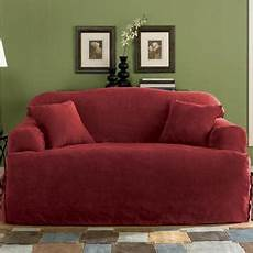 sure fit soft suede burgundy t cushion sofa slipcover