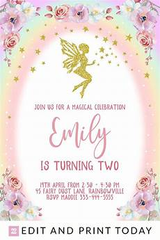 Fairy Party Invite Fairy Birthday Invitation Instant Download Fairy Invites