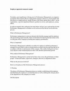 Employee Comment On Performance Appraisal Example Employee Appraisal Comments Sample