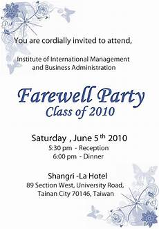 Farewell Invitation Email How To Write Farewell Card