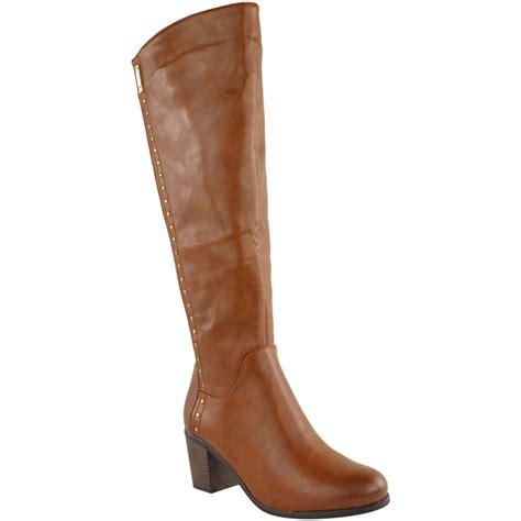 high heel boots for big calves womens wide leg knee high mid calf block heel