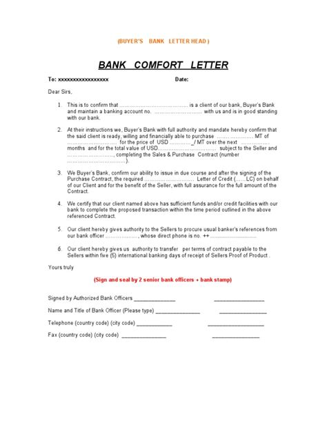 Bank Letter Of Comfort Format Bank Confirmation Letter Sle 3
