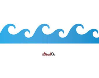 template of waves wave stencil etsy