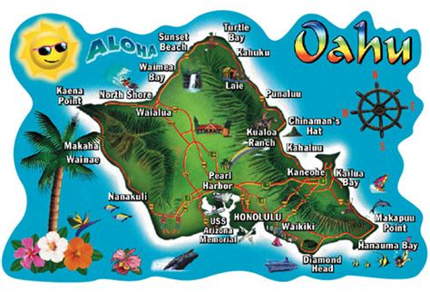 Home Decorative Items by Oahu Map Hawaiigifts Com