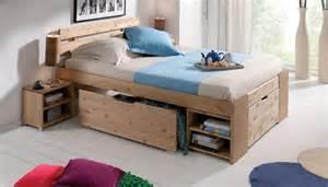 lit 140 avec tiroirs lit bois massif avec rangement mzaol