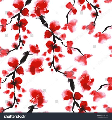 japanese pattern watercolor cherry blossom pattern japanese floral background stock