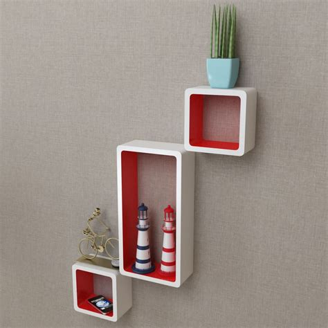 pattern wall display vidaxl co uk 3 white red mdf floating wall display shelf