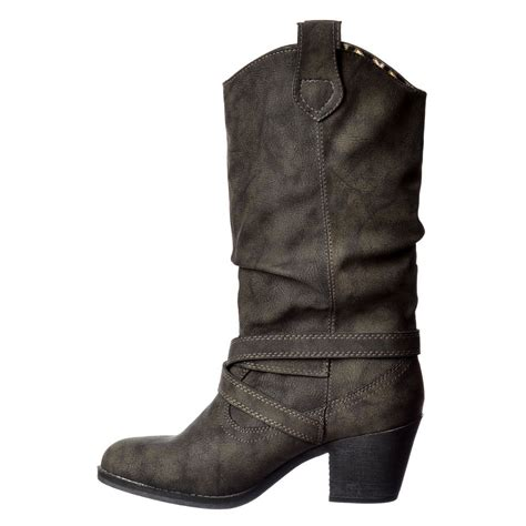 Womens Boots Size 8 Black by Womens Rocket Sidestep Rider Cowboy Western Brown