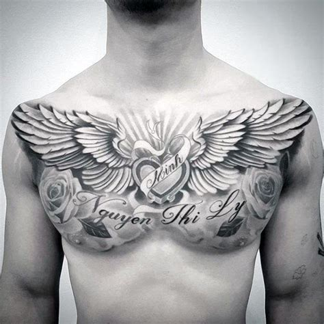 chest piece tattoo ideas for men 40 wing chest designs for freedom ink ideas