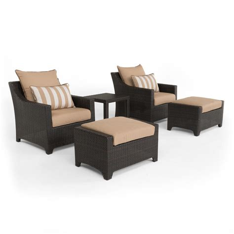 rst brands deco 5 all weather wicker patio club chair and ottoman seating set with maxim