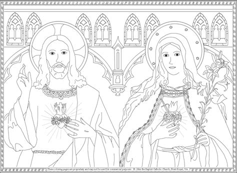 jesus heart coloring page sacred heart of jesus and immaculate heart of mary