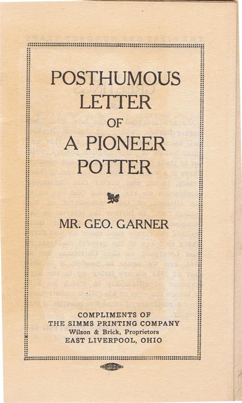 Elhistsoc Posthumous Letter Of A Pioneer Potter