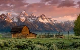 the great barn at mountain barn teton rocky mountains sunset grass hd wallpaper